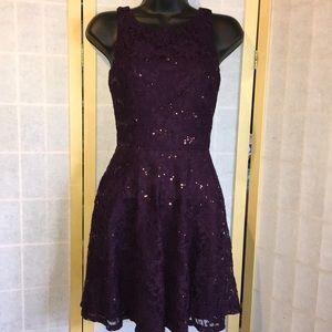 Aubergine Demi formal lace over mini